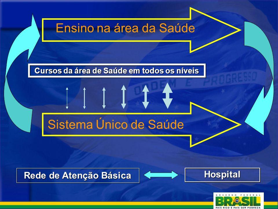 Ensino na área da Saúde Sistema Único de Saúde Rede de Atenção Básica Hospital Cursos da área de Saúde em todos os níveis