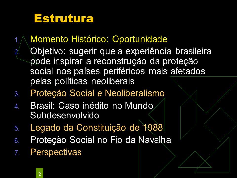 2 Estrutura 1. Momento Histórico: Oportunidade 2. Objetivo: sugerir que a experiência brasileira pode inspirar a reconstrução da proteção social nos p