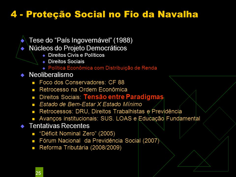 25 4 - Proteção Social no Fio da Navalha Tese do País Ingovernável (1988) Núcleos do Projeto Democráticos Direitos Civis e Políticos Direitos Sociais