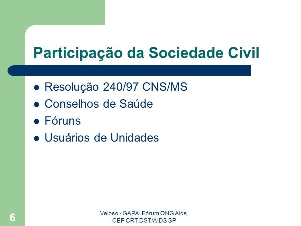 Veloso - GAPA, Fórum ONG Aids, CEP CRT DST/AIDS SP 6 Participação da Sociedade Civil Resolução 240/97 CNS/MS Conselhos de Saúde Fóruns Usuários de Unidades