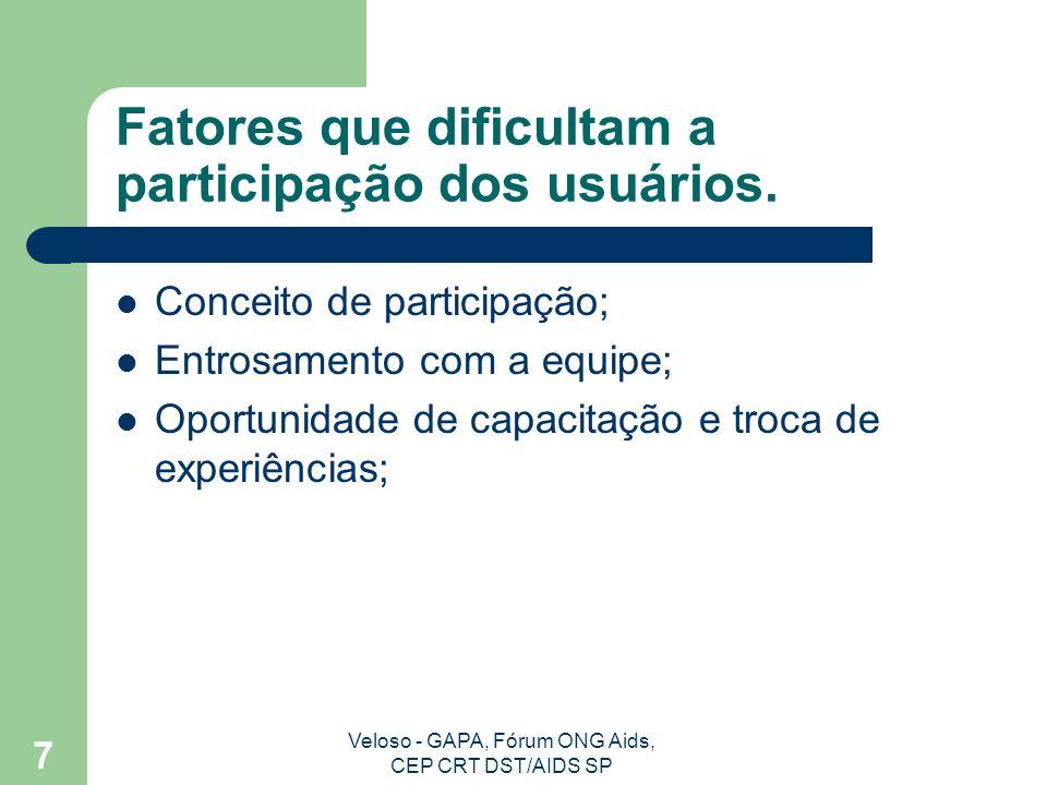Veloso - GAPA, Fórum ONG Aids, CEP CRT DST/AIDS SP 7 Fatores que dificultam a participação dos usuários.