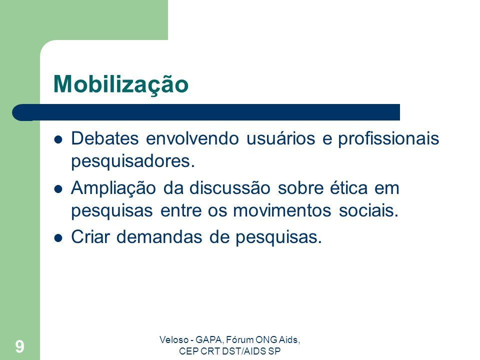 Veloso - GAPA, Fórum ONG Aids, CEP CRT DST/AIDS SP 10 Ética e Dignidade Humana Autonomia Beneficência Não maleficência Justiça
