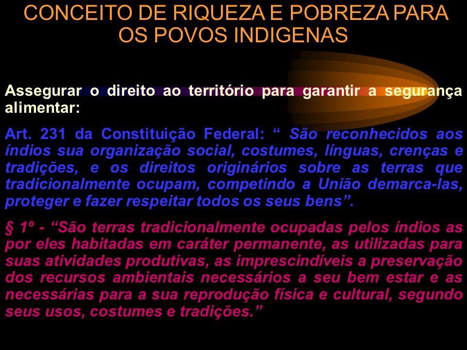 CONCEITO DE RIQUEZA E POBREZA PARA OS POVOS INDIGENAS Assegurar o direito ao território para garantir a segurança alimentar: Art. 231 da Constituição