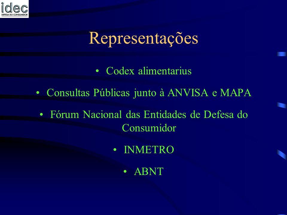 Representações Codex alimentarius Consultas Públicas junto à ANVISA e MAPA Fórum Nacional das Entidades de Defesa do Consumidor INMETRO ABNT
