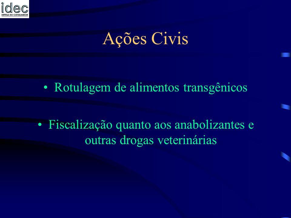 Ações Civis Rotulagem de alimentos transgênicos Fiscalização quanto aos anabolizantes e outras drogas veterinárias