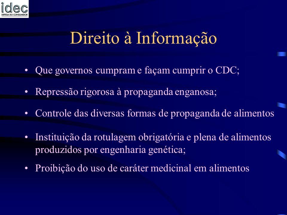 Direito à Informação Que governos cumpram e façam cumprir o CDC; Repressão rigorosa à propaganda enganosa; Controle das diversas formas de propaganda