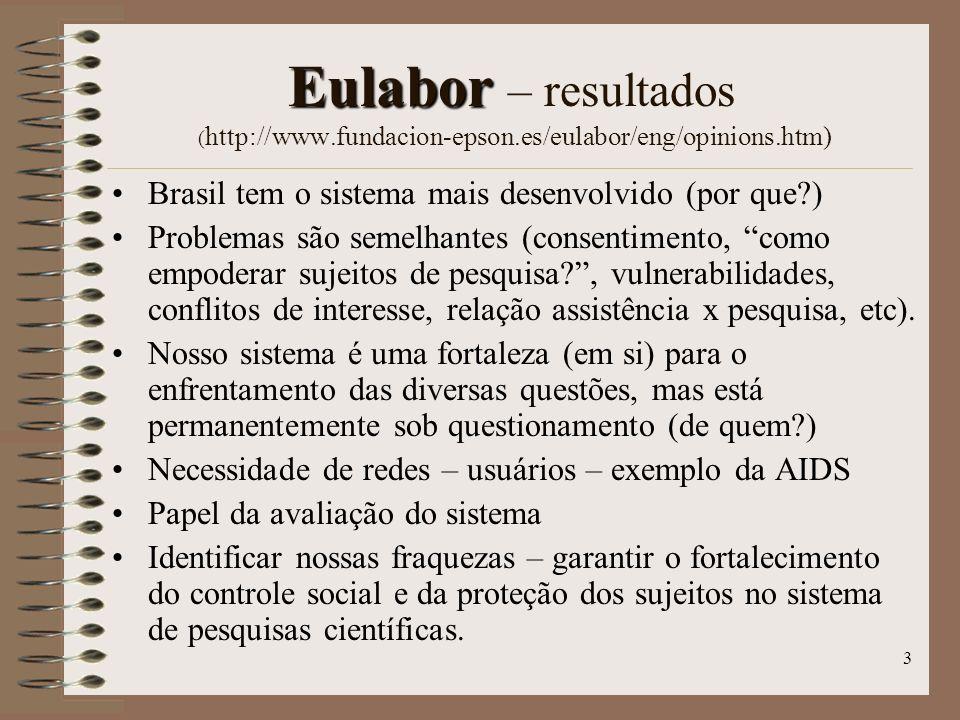 3 Eulabor Eulabor – resultados ( http://www.fundacion-epson.es/eulabor/eng/opinions.htm) Brasil tem o sistema mais desenvolvido (por que?) Problemas s