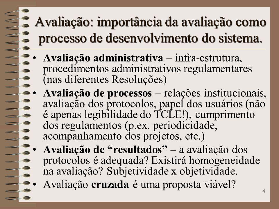 4 Avaliação administrativa – infra-estrutura, procedimentos administrativos regulamentares (nas diferentes Resoluções) Avaliação de processos – relaçõ