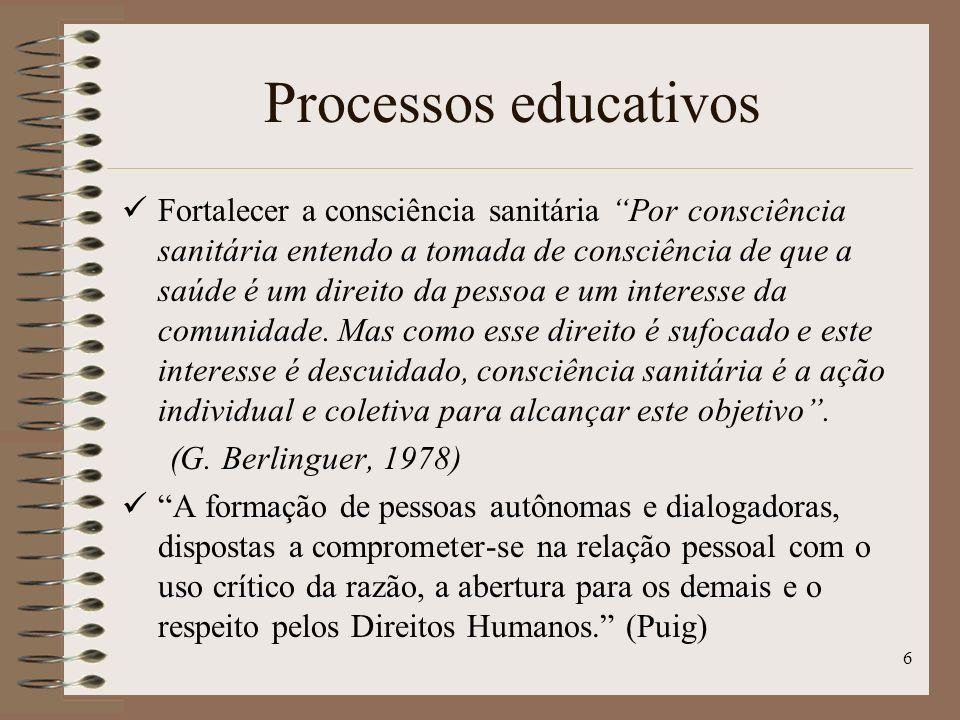 6 Fortalecer a consciência sanitária Por consciência sanitária entendo a tomada de consciência de que a saúde é um direito da pessoa e um interesse da