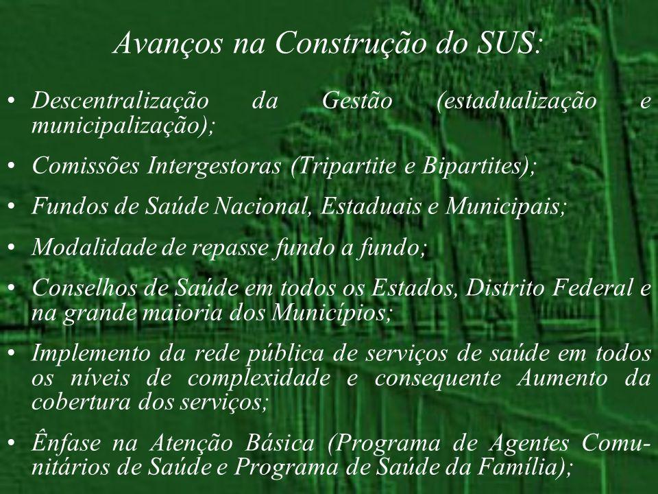 Avanços na Construção do SUS: Descentralização da Gestão (estadualização e municipalização); Comissões Intergestoras (Tripartite e Bipartites); Fundos