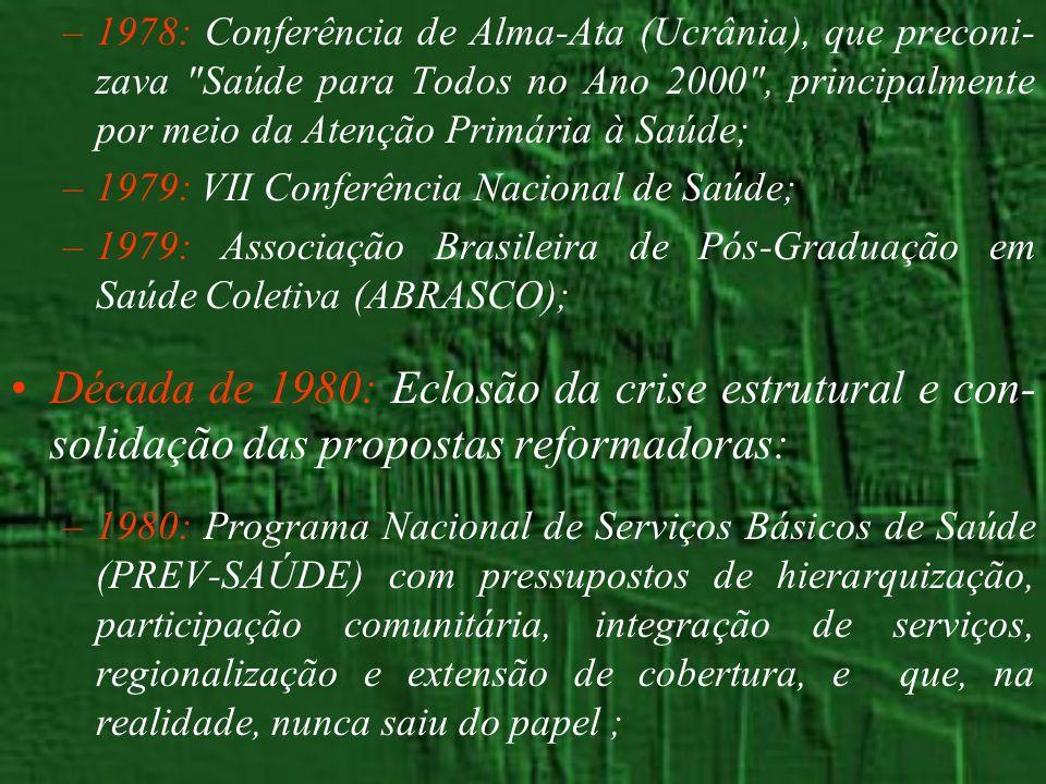 –1978: Conferência de Alma-Ata (Ucrânia), que preconi- zava