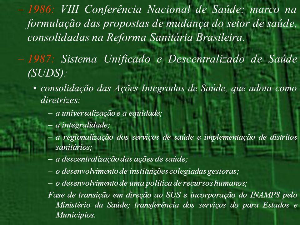 –1986: VIII Conferência Nacional de Saúde: marco na formulação das propostas de mudança do setor de saúde, consolidadas na Reforma Sanitária Brasileir