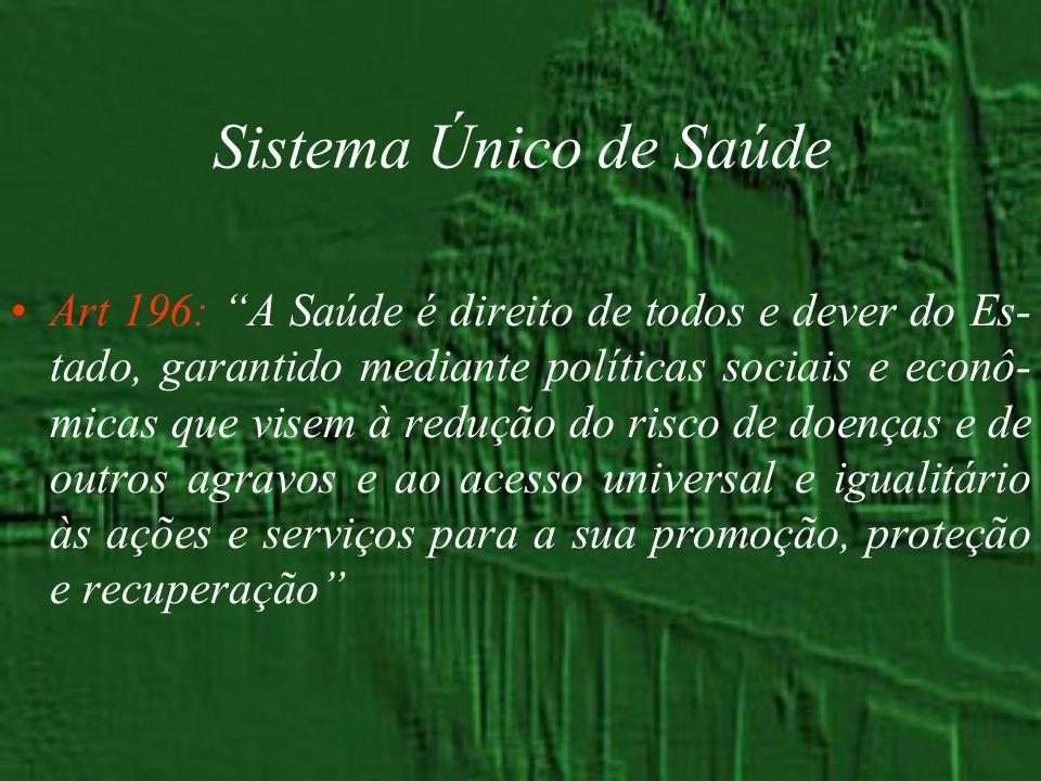 Sistema Único de Saúde Art 196: A Saúde é direito de todos e dever do Es- tado, garantido mediante políticas sociais e econô- micas que visem à reduçã