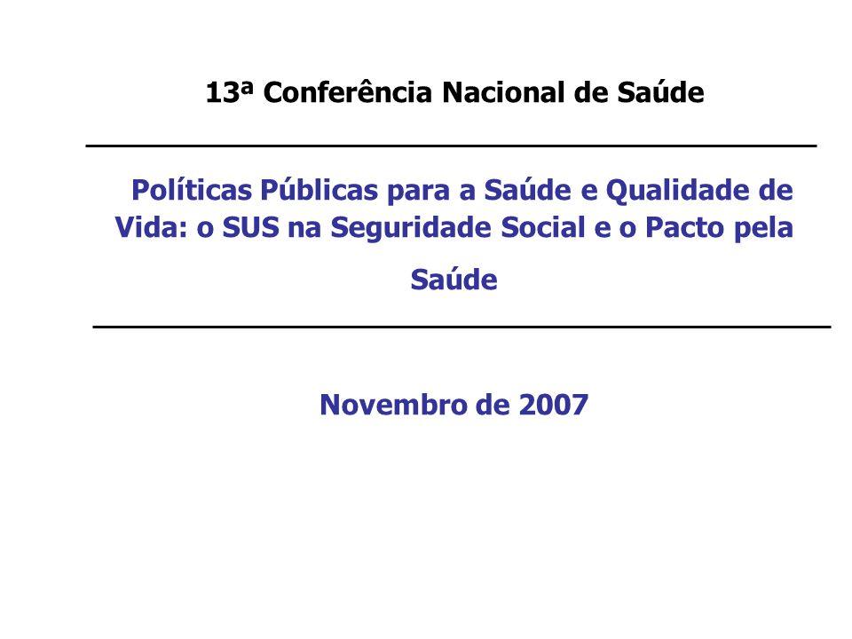 13ª Conferência Nacional de Saúde Políticas Públicas para a Saúde e Qualidade de Vida: o SUS na Seguridade Social e o Pacto pela Saúde Novembro de 200