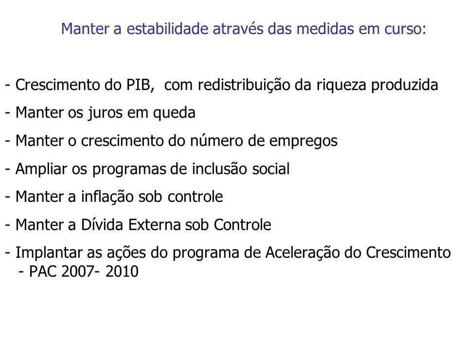 Manter a estabilidade através das medidas em curso: - Crescimento do PIB, com redistribuição da riqueza produzida - Manter os juros em queda - Manter