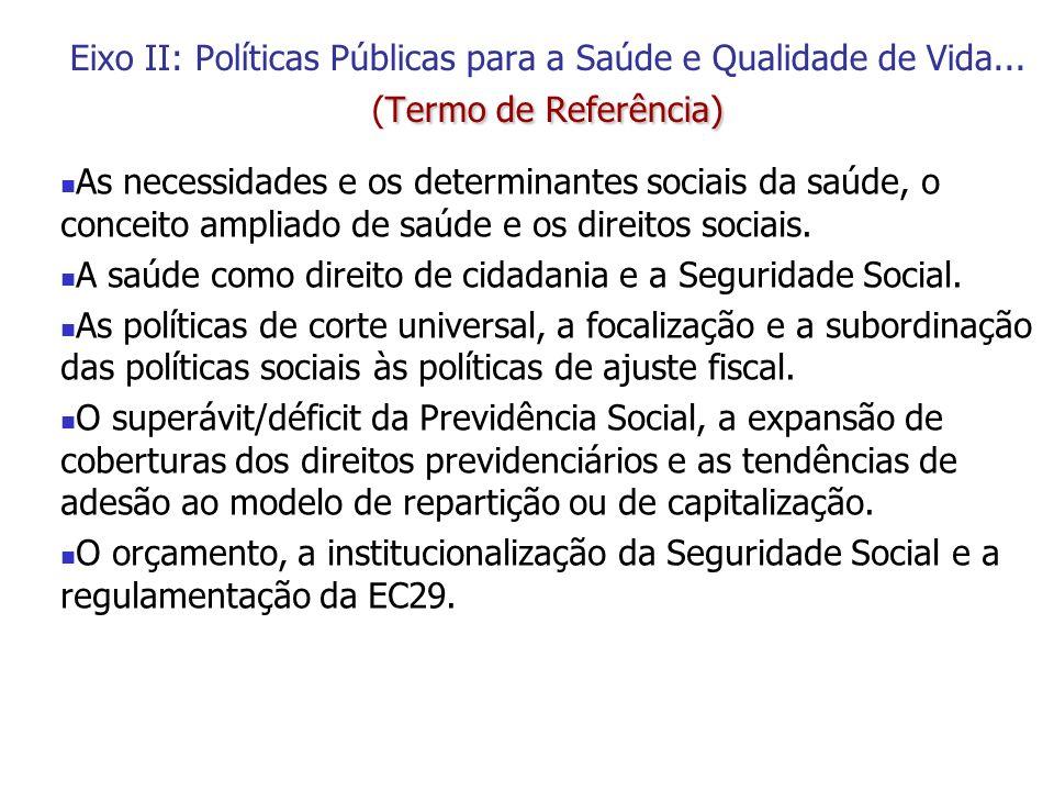 Termo de Referência) Eixo II: Políticas Públicas para a Saúde e Qualidade de Vida... (Termo de Referência) As necessidades e os determinantes sociais