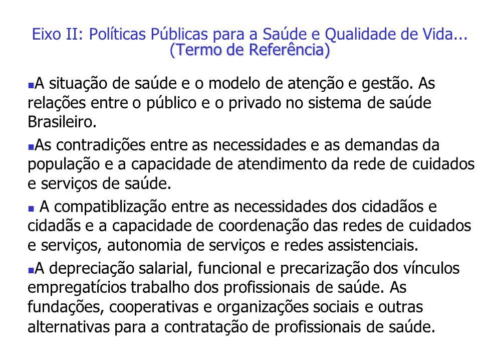 A situação de saúde e o modelo de atenção e gestão. As relações entre o público e o privado no sistema de saúde Brasileiro. As contradições entre as n