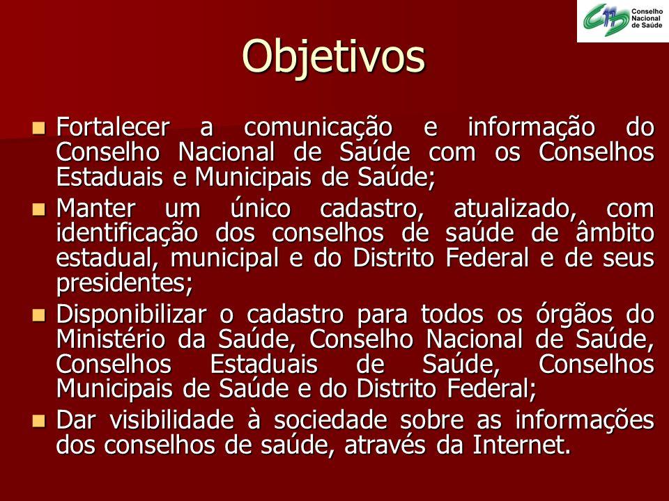 Objetivos Fortalecer a comunicação e informação do Conselho Nacional de Saúde com os Conselhos Estaduais e Municipais de Saúde; Fortalecer a comunicaç
