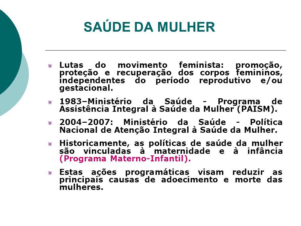 SAÚDE DA MULHER Lutas do movimento feminista: promoção, proteção e recuperação dos corpos femininos, independentes do período reprodutivo e/ou gestaci