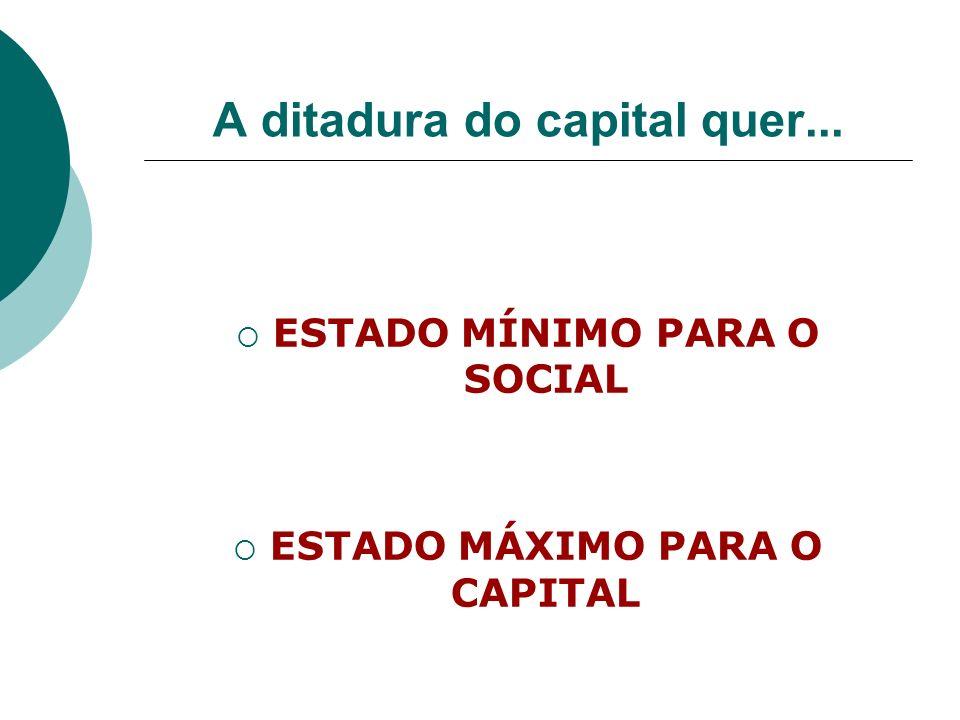 A ditadura do capital quer... ESTADO MÍNIMO PARA O SOCIAL ESTADO MÁXIMO PARA O CAPITAL