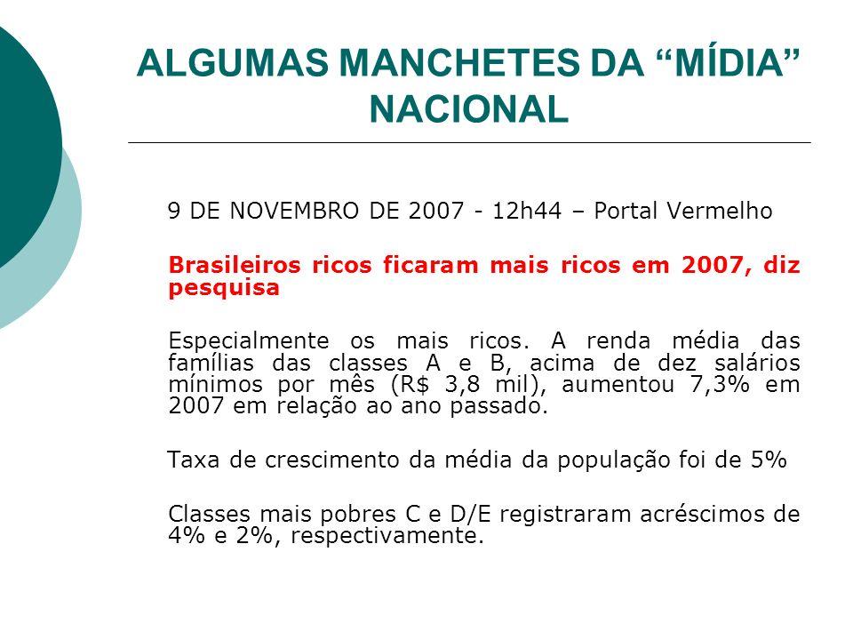 ALGUMAS MANCHETES DA MÍDIA NACIONAL 9 DE NOVEMBRO DE 2007 - 12h44 – Portal Vermelho Brasileiros ricos ficaram mais ricos em 2007, diz pesquisa Especia