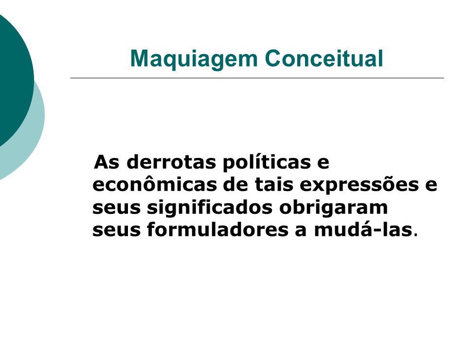 Maquiagem Conceitual As derrotas políticas e econômicas de tais expressões e seus significados obrigaram seus formuladores a mudá-las.