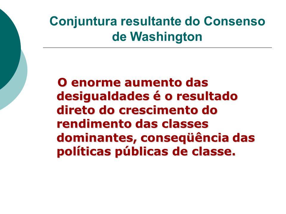 Conjuntura resultante do Consenso de Washington O enorme aumento das desigualdades é o resultado direto do crescimento do rendimento das classes domin