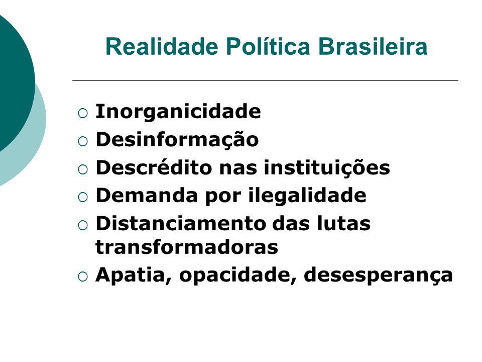 Realidade Política Brasileira Inorganicidade Desinformação Descrédito nas instituições Demanda por ilegalidade Distanciamento das lutas transformadora