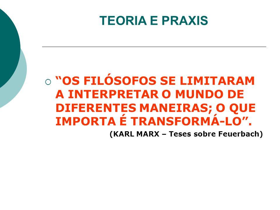 TEORIA E PRAXIS OS FILÓSOFOS SE LIMITARAM A INTERPRETAR O MUNDO DE DIFERENTES MANEIRAS; O QUE IMPORTA É TRANSFORMÁ-LO. (KARL MARX – Teses sobre Feuerb