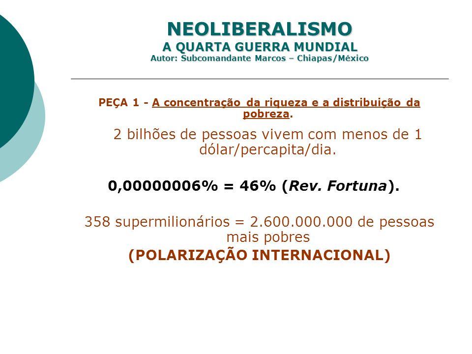 NEOLIBERALISMO A QUARTA GUERRA MUNDIAL Autor: Subcomandante Marcos – Chiapas/México PEÇA 1 - A concentração da riqueza e a distribuição da pobreza. 2