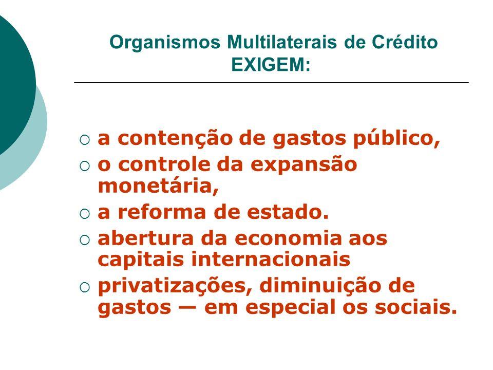 Organismos Multilaterais de Crédito EXIGEM: a contenção de gastos público, o controle da expansão monetária, a reforma de estado. abertura da economia