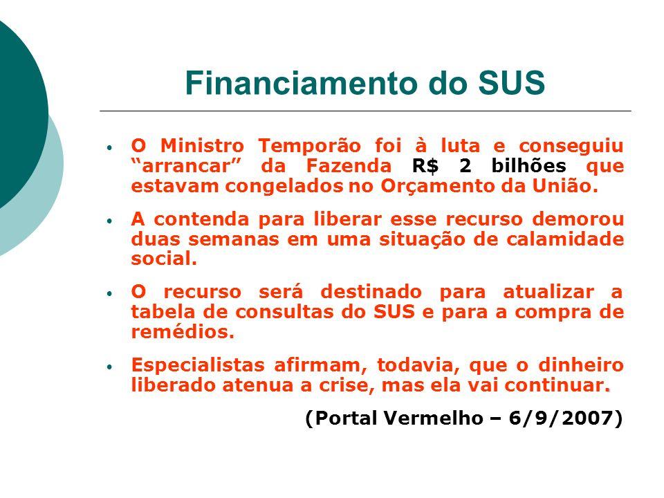 Financiamento do SUS O Ministro Temporão foi à luta e conseguiu arrancar da Fazenda R$ 2 bilhões que estavam congelados no Orçamento da União. A conte