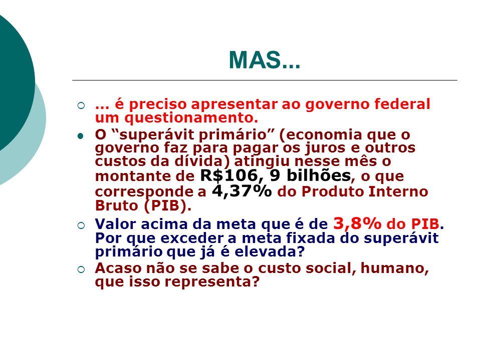 MAS...... é preciso apresentar ao governo federal um questionamento. O superávit primário (economia que o governo faz para pagar os juros e outros cus