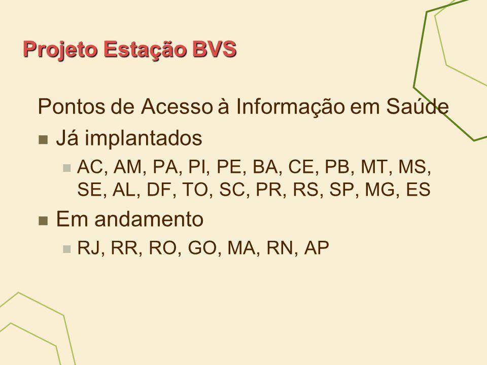 Projeto Estação BVS Pontos de Acesso à Informação em Saúde Já implantados AC, AM, PA, PI, PE, BA, CE, PB, MT, MS, SE, AL, DF, TO, SC, PR, RS, SP, MG,