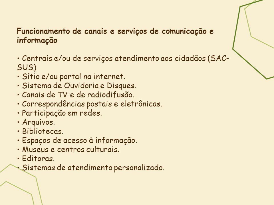 Funcionamento de canais e serviços de comunicação e informação Centrais e/ou de serviços atendimento aos cidadãos (SAC- SUS) Sítio e/ou portal na inte