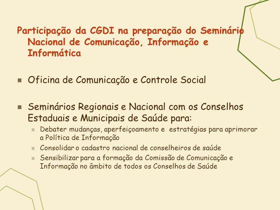 Participação da CGDI na preparação do Seminário Nacional de Comunicação, Informação e Informática Oficina de Comunicação e Controle Social Seminários