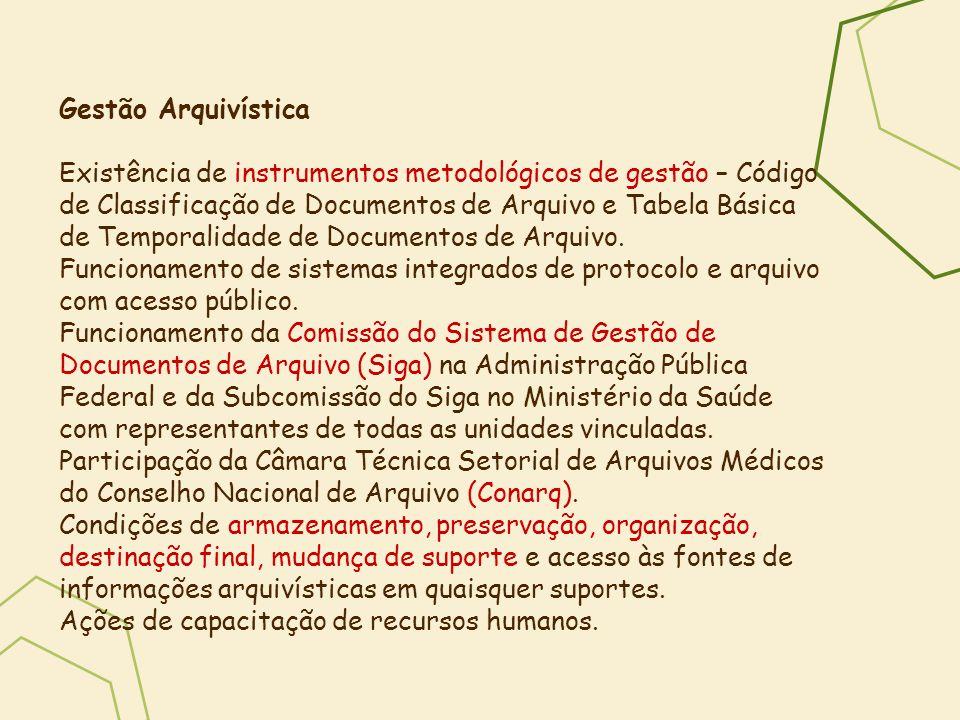 Gestão Arquivística Existência de instrumentos metodológicos de gestão – Código de Classificação de Documentos de Arquivo e Tabela Básica de Temporali