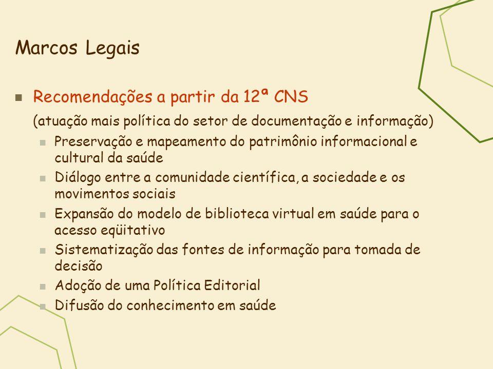 Marcos Legais Recomendações a partir da 12ª CNS (atuação mais política do setor de documentação e informação) Preservação e mapeamento do patrimônio i