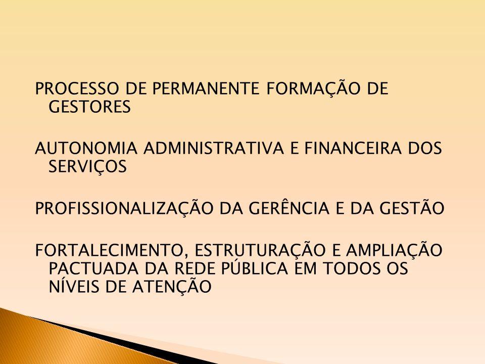 PROCESSO DE PERMANENTE FORMAÇÃO DE GESTORES AUTONOMIA ADMINISTRATIVA E FINANCEIRA DOS SERVIÇOS PROFISSIONALIZAÇÃO DA GERÊNCIA E DA GESTÃO FORTALECIMEN