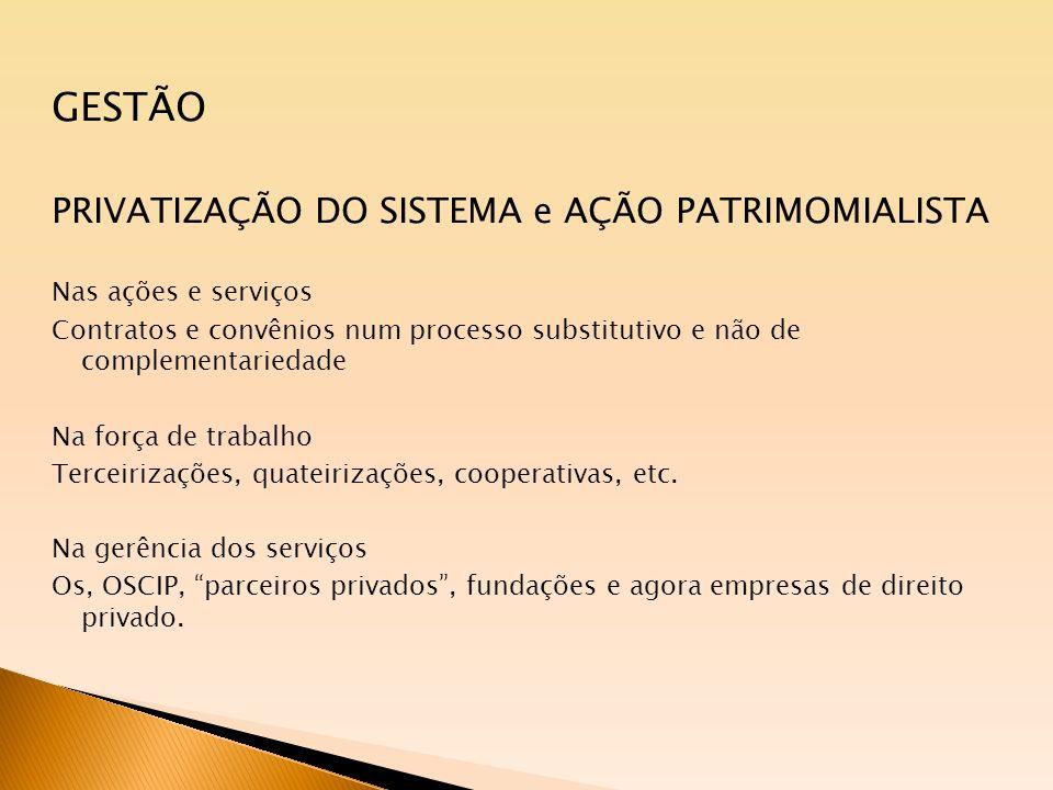 GESTÃO PRIVATIZAÇÃO DO SISTEMA e AÇÃO PATRIMOMIALISTA Nas ações e serviços Contratos e convênios num processo substitutivo e não de complementariedade