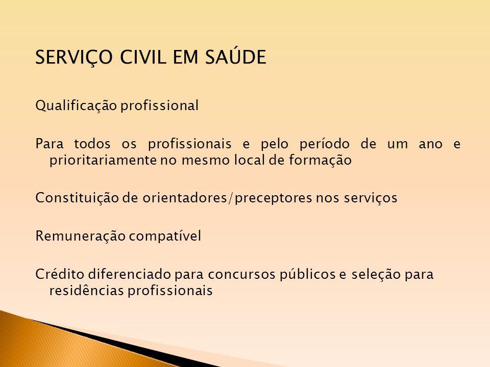 SERVIÇO CIVIL EM SAÚDE Qualificação profissional Para todos os profissionais e pelo período de um ano e prioritariamente no mesmo local de formação Co