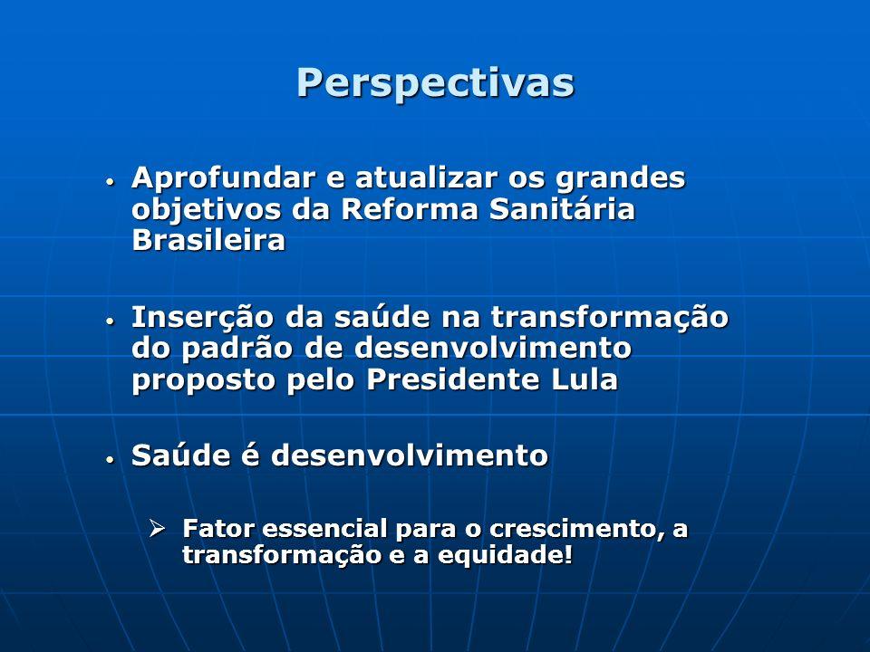 Perspectivas Aprofundar e atualizar os grandes objetivos da Reforma Sanitária Brasileira Aprofundar e atualizar os grandes objetivos da Reforma Sanitá