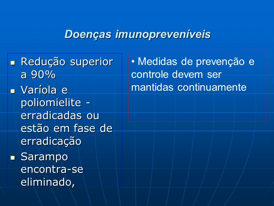 Doenças imunopreveníveis Redução superior a 90% Redução superior a 90% Varíola e poliomielite - erradicadas ou estão em fase de erradicação Varíola e