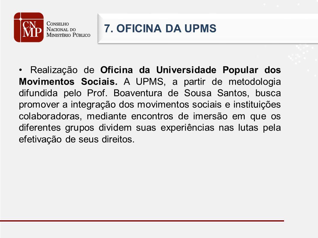 7. OFICINA DA UPMS Realização de Oficina da Universidade Popular dos Movimentos Sociais. A UPMS, a partir de metodologia difundida pelo Prof. Boaventu