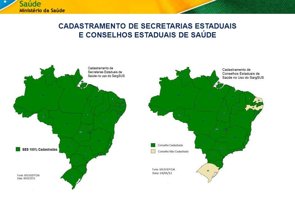 CADASTRAMENTO DE SECRETARIAS ESTADUAIS E CONSELHOS ESTADUAIS DE SAÚDE