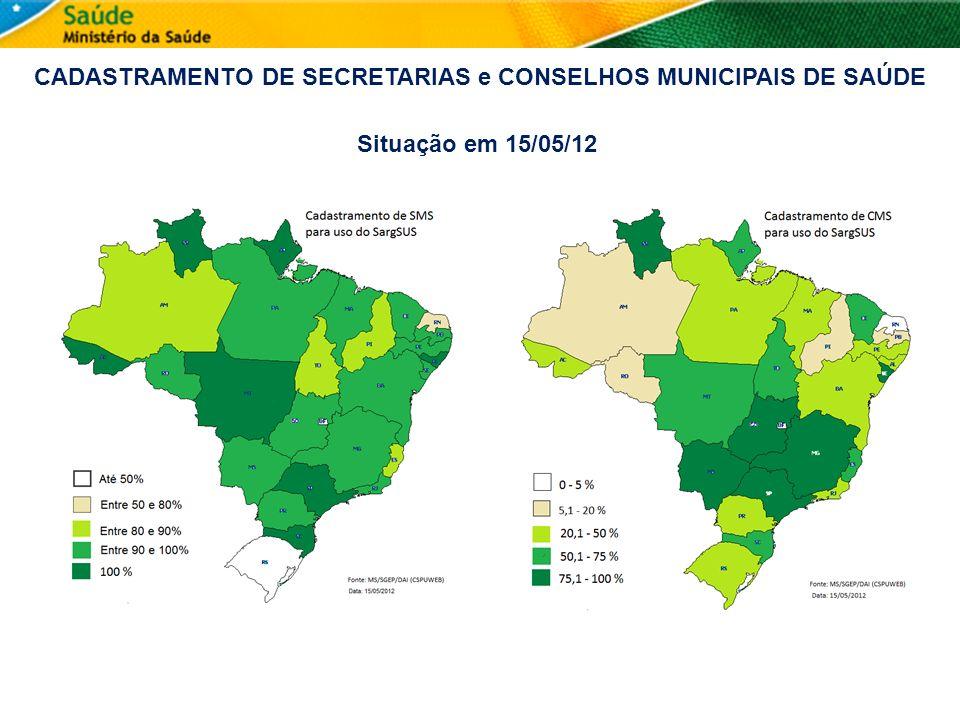 CADASTRAMENTO DE SECRETARIAS e CONSELHOS MUNICIPAIS DE SAÚDE Situação em 15/05/12