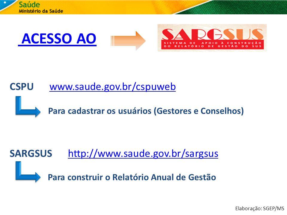 Elaboração: SGEP/MS ACESSO AO CSPU www.saude.gov.br/cspuwebwww.saude.gov.br/cspuweb SARGSUS http://www.saude.gov.br/sargsushttp://www.saude.gov.br/sar