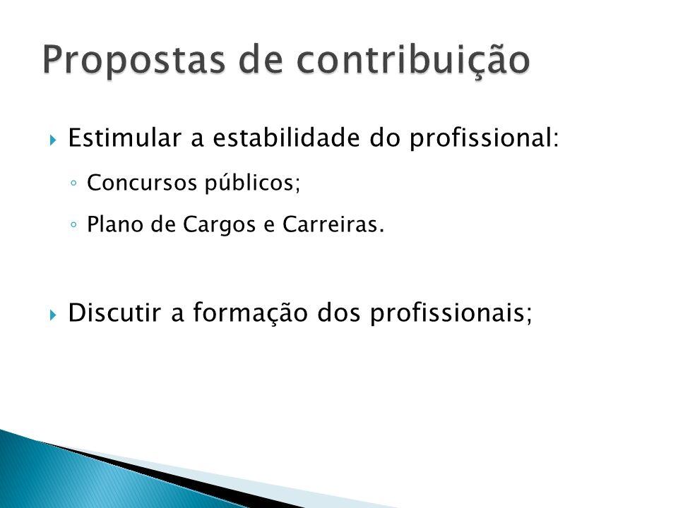 Estimular a estabilidade do profissional: Concursos públicos; Plano de Cargos e Carreiras. Discutir a formação dos profissionais;
