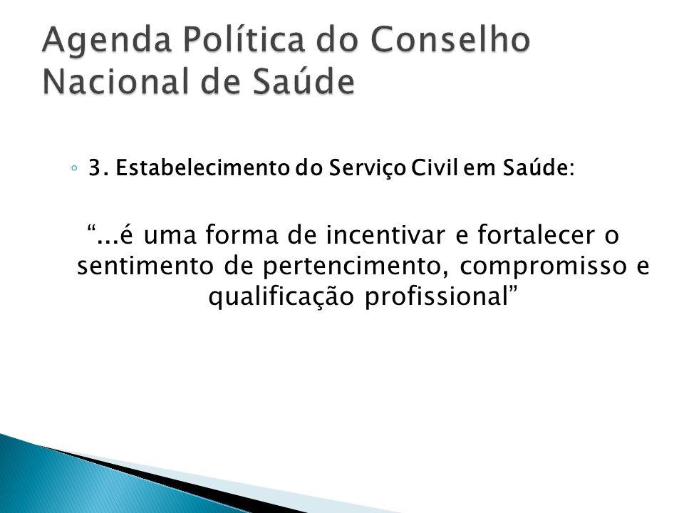 3. Estabelecimento do Serviço Civil em Saúde:...é uma forma de incentivar e fortalecer o sentimento de pertencimento, compromisso e qualificação profi