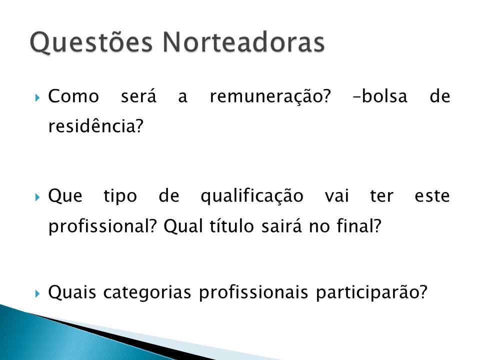 Como será a remuneração? –bolsa de residência? Que tipo de qualificação vai ter este profissional? Qual título sairá no final? Quais categorias profis